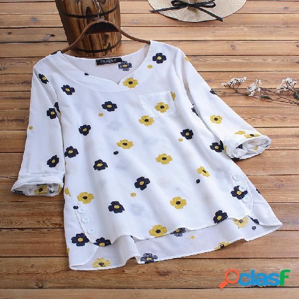 Blusa casual com estampa floral de bolso e manga comprida com decote em v