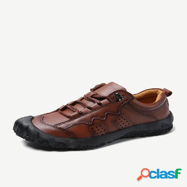 Calçados casuais masculinos couro genuíno antiderrapantes soft solados ao ar livre