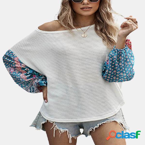Blusa com estampa floral patchwork manga longa decote em o tamanho plus