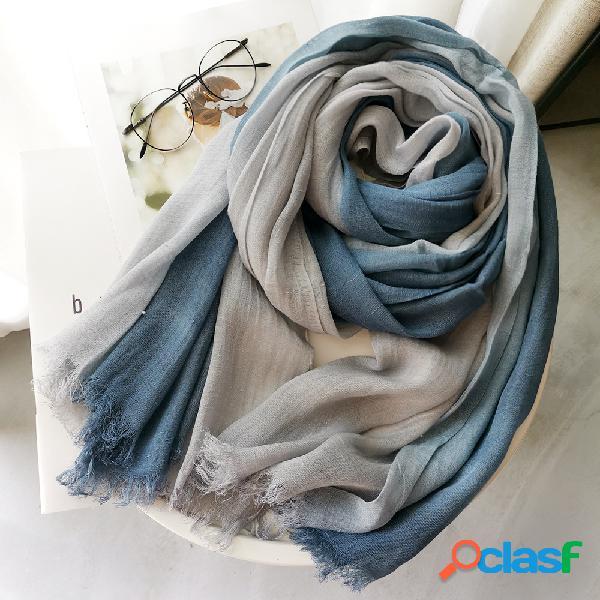 Lenço de algodão e linho feminino outono e inverno cor gradiente combinando com feminino floresta feminino xale
