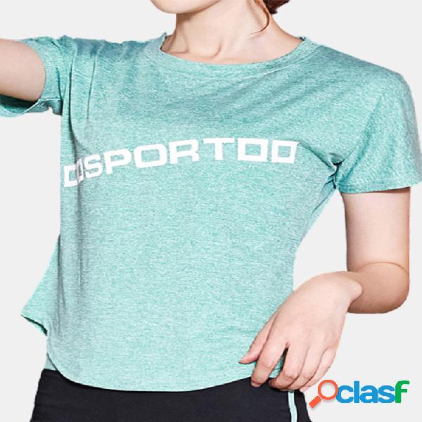 Aptidão yoga camiseta esporte de manga curta de secagem rápida