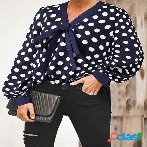 Blusa com estampa de bolinhas com decote em v e manga comprida plus tamanho