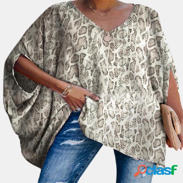 Blusa com estampa de leopardo com decote em v solto tamanho plus