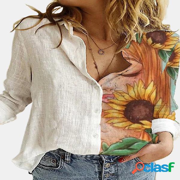 Blusa de manga comprida com estampa floral de lapela e botão de lapela