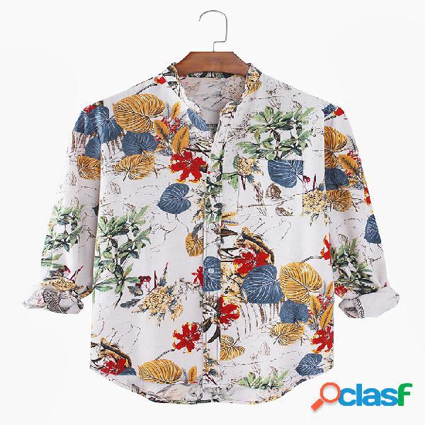 Camisas masculinas com estampa floral casual para férias com bainha alta e baixa e bolso