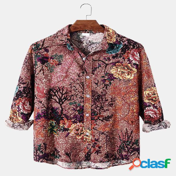 Homens allover planta e algodão com estampa floral diária regular lapela camisas de manga longa