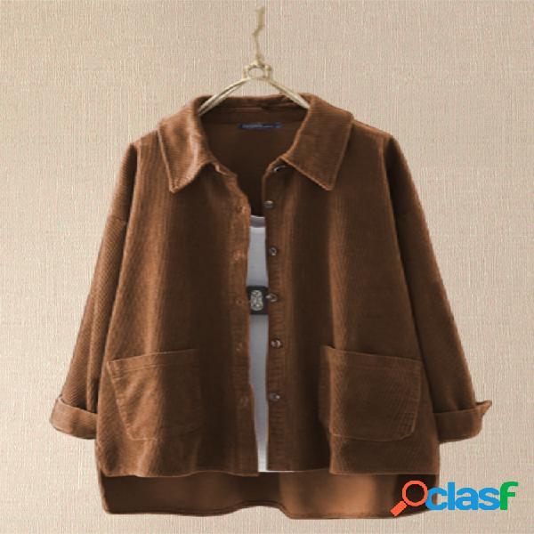 Veludo de algodão assimétrico plus tamanho camisa com bolsos