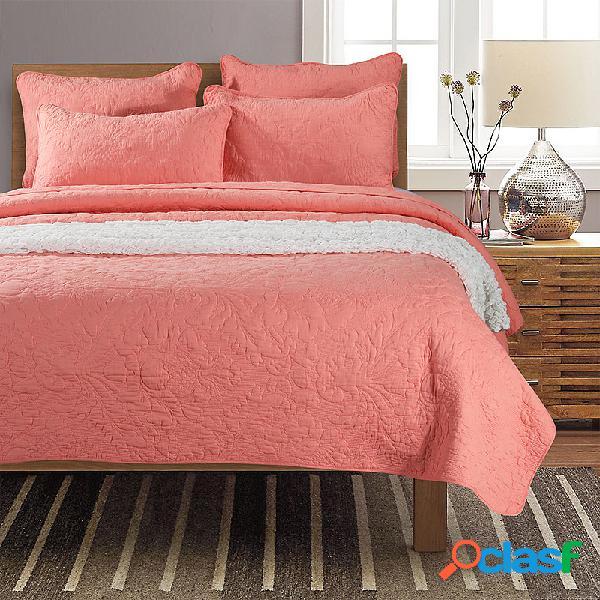 3 unidades de roupa de cama de algodão colcha de bordado americano foi lavada e capa de cama