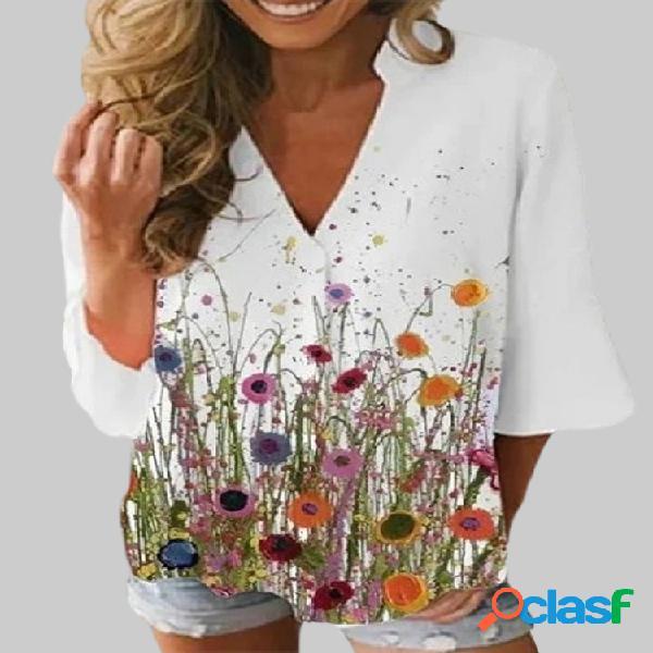 Blusa feminina com estampa floral com decote em v 3/4 manga casual