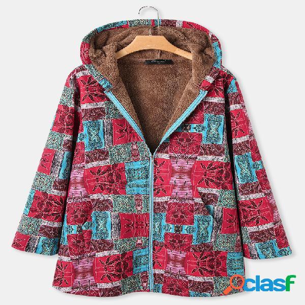Estampa floral patchwork manga longa vintage com capuz tamanho plus casacos