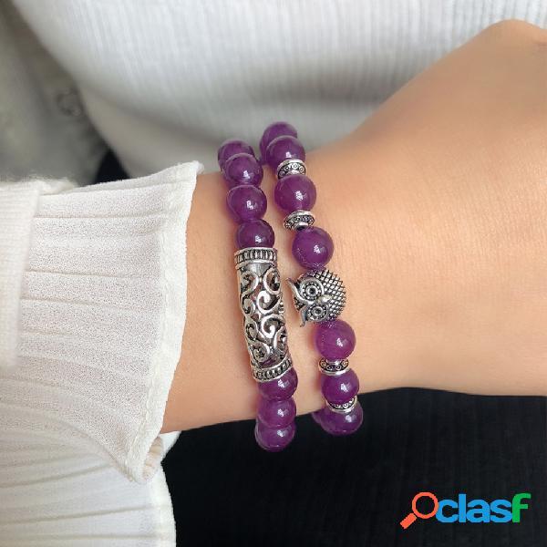 Pulseira de coruja de prata tibetana artesanal gemstone natural crystal elastic corda pulseira de miçangas para mulheres