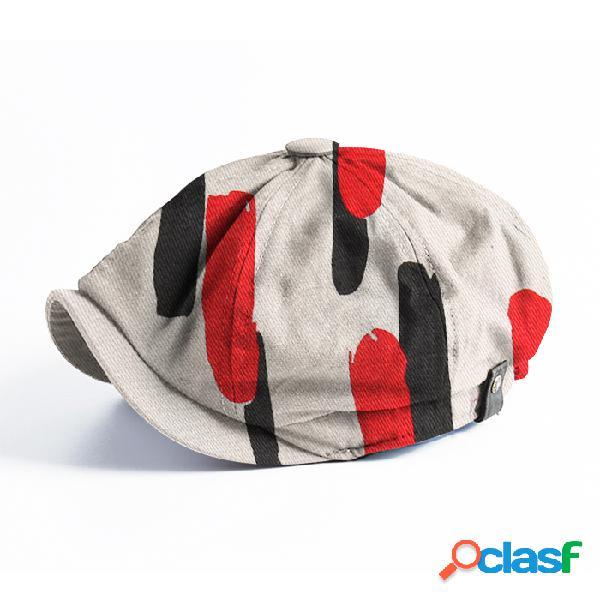 Boina masculina de linhas grossas padrão moda casual de aba curta plana chapéu bonés jornal
