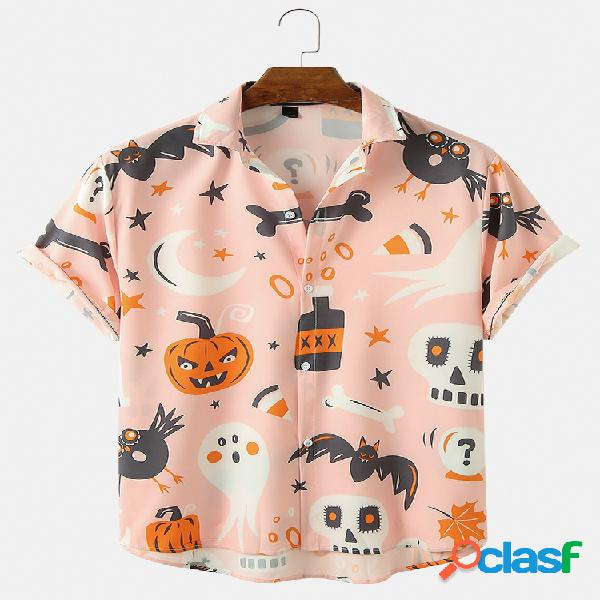 Camisas engraçadas de halloween para homens caveira com estampa de abóbora e manga curta de ajuste relaxado