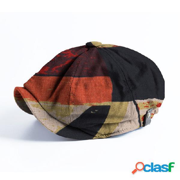 Homens patchwork cor padrão casual aba curta newsboy caps boina boné chapéu