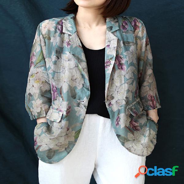Jaqueta com estampa floral vintage manga 3/4