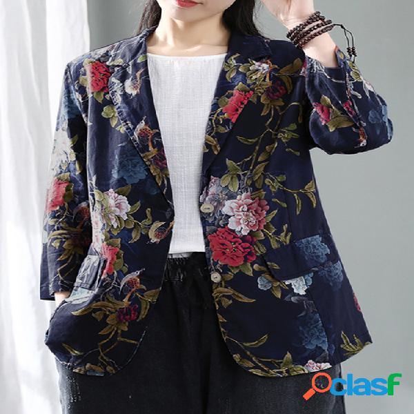 Jaqueta de algodão manga 3/4 vintage com estampa floral