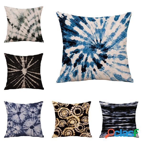Linho de algodão tie-dye feito à mão abraço fronha almofada fronha sofá almofada impressão personalizada fronha