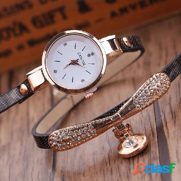Relógio pu retro multicamada com pulseira de metal geométrico arco de strass pingente relógio de quartzo