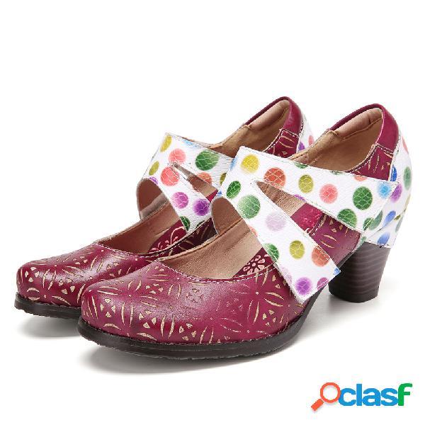 Socofy recorte floral couro genuíno tira de tornozelo confortável e vestível gancho sapatos de salto alto
