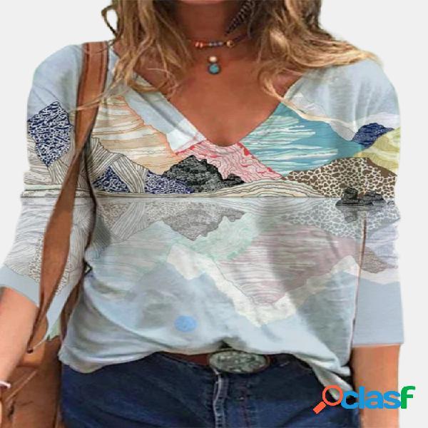 Blusa casual feminina com decote em v com estampa de paisagem e manga comprida