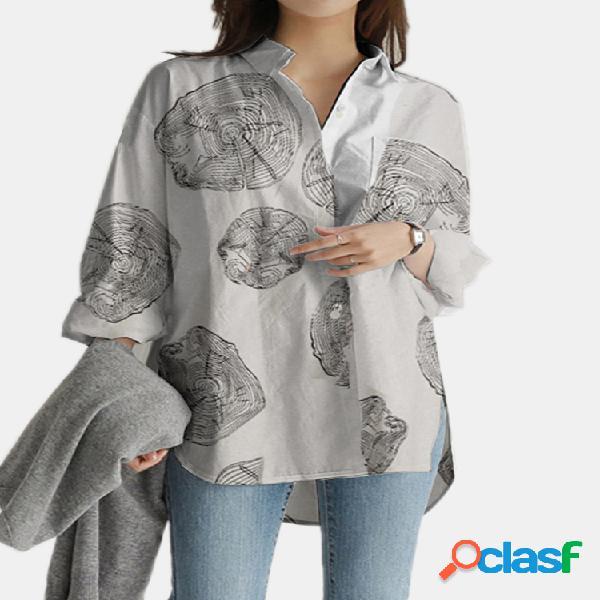 Blusa casual solta com estampa geométrica de mangas compridas com bolsos