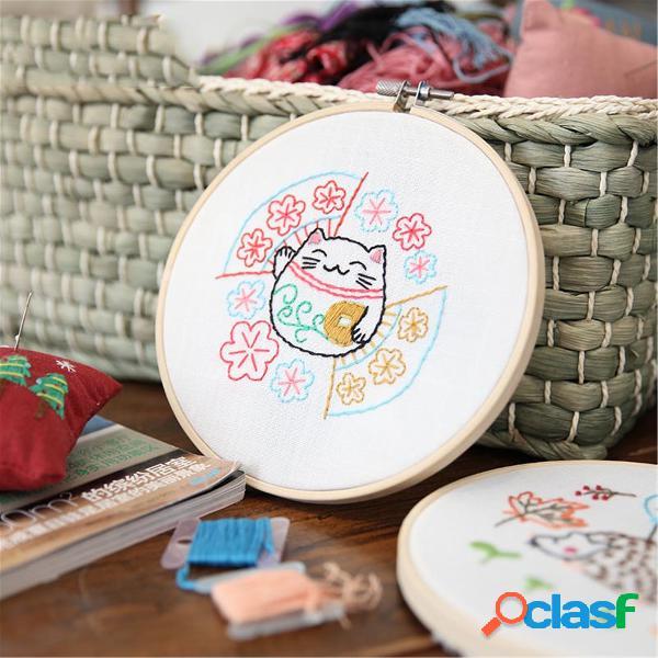 Desenhos animados diy fitas bordados para iniciantes kits de costura artesanal de ponto cruz material de costura decoração de parede para casa