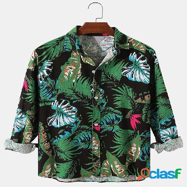 Homem planta e folha estampa algodão linho casual feriado lapela com botões de manga comprida camisas