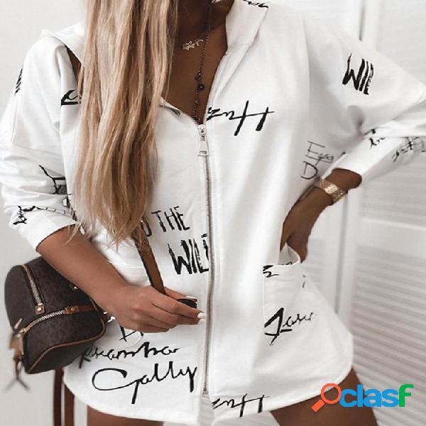 Jaqueta com zíper casual com capuz e manga comprida estampa letras