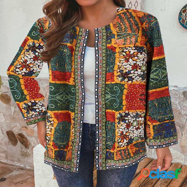 Jaquetas de patchwork em estilo étnico vintage com estampa floral e bolsos para mulheres
