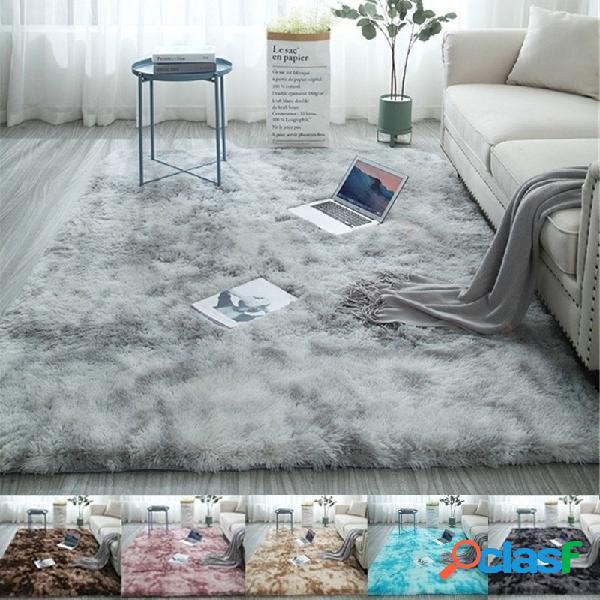 Longo cabelo variegated tie-dye gradient carpet sala de estar quarto cobertor de cabeceira almofada de mesa de centro tapete completo de carpete