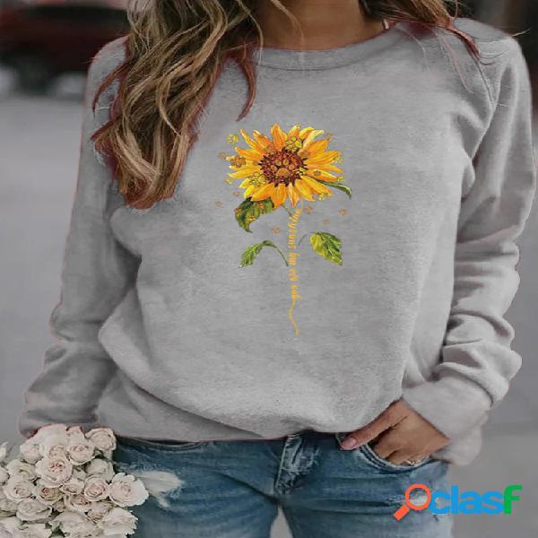 Sweatshirt casual de manga comprida com gola o com estampa floral para mulheres