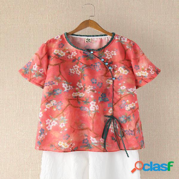 Blusa feminina de manga curta estampada vintage com decote em o com cordão