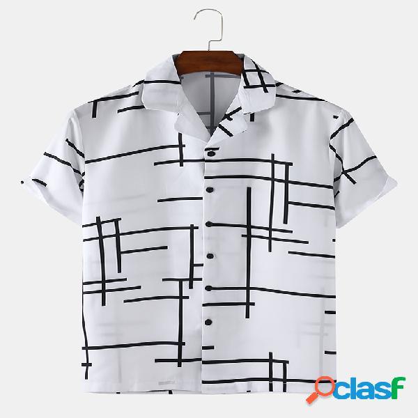 Camisas de algodão masculino com linha irregular, estampa simples solta e fina de manga curta