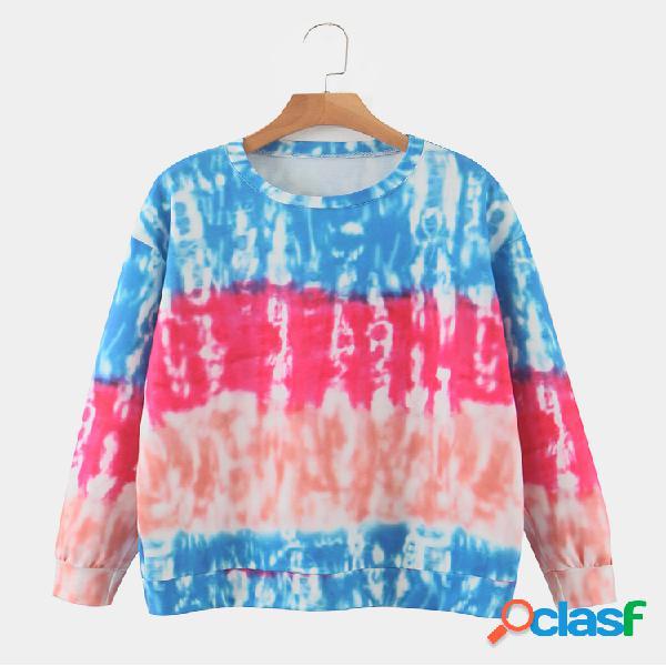 Camisola com decote em o com estampa de manga comprida colorida block
