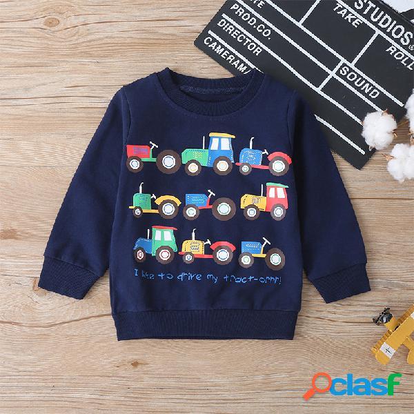 Carro dos desenhos animados do menino imprimir camisola de mangas compridas para 2-8a