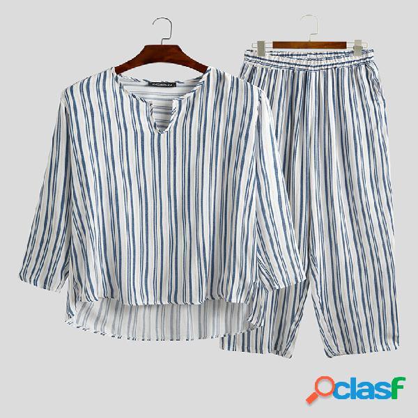 Listrado respirável comprimento tops pijamas conjuntos de pijama de linho de algodão de cor sólida para homens