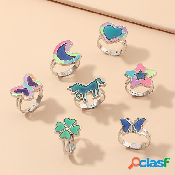 Moda anel de humor engraçado unicórnio borboleta emoção de temperatura sensação de mudança de cor