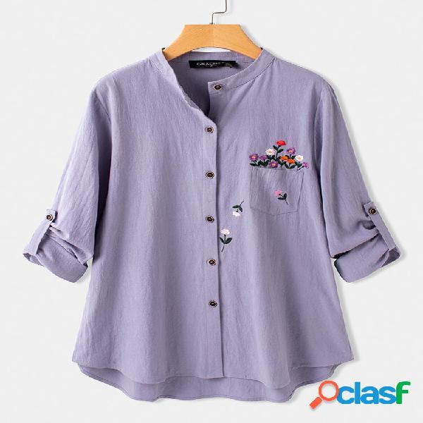 Blusa assimétrica para mulheres com bordado floral de manga comprida com colarinho