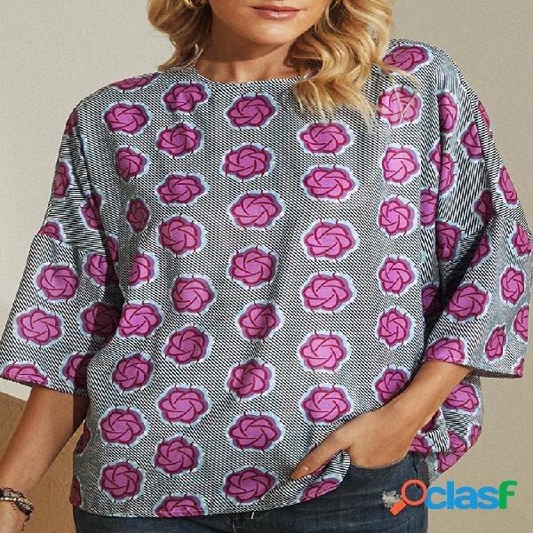 Blusa casual para mulheres com estampa de flores vintage