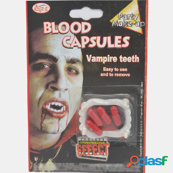 Conjunto de dentaduras de halloween com 2 peças de plástico pílulas de sangue dentaduras zombie vampiro adereços de vestir