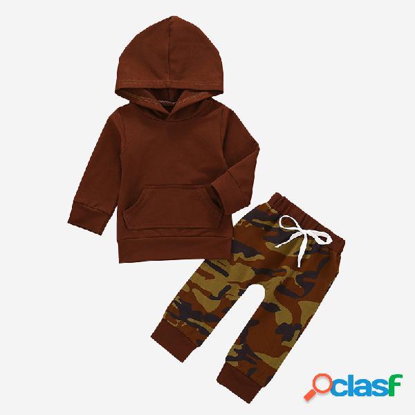 Conjunto de mangas compridas com capuz para bebês com estampa de camuflagem casual para 6-24 milhões