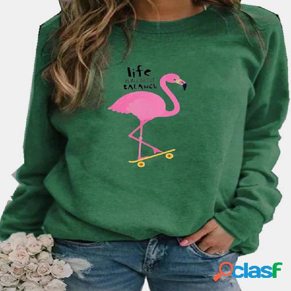 Flamingo letters impresso blusa manga longa com gola o