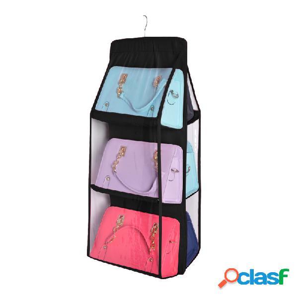 Pão duplo bolsa armazenamento não tecido suspenso bolsa perspectiva do armário pendurado acabamento armazenamento doméstico bolsa