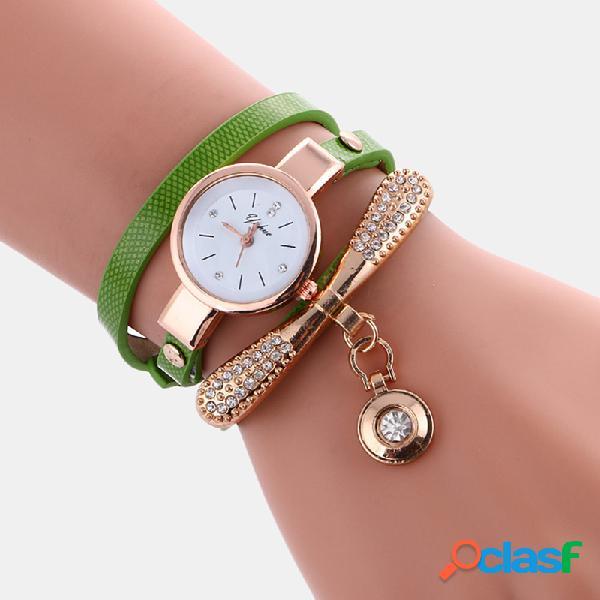 Relógio feminino casual com pulseira de couro de strass de metal decorativo círculo pingente relógio de quartzo multicamada