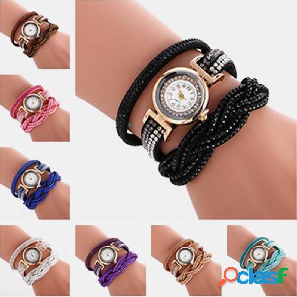 Relógio vintage fluorescente de strass multicamadas de metal colorful relógio de quartzo tecido à mão com diamante