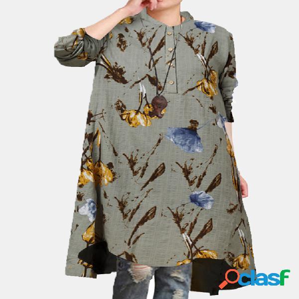 Blusa feminina estampado floral mangas compridas gola casual