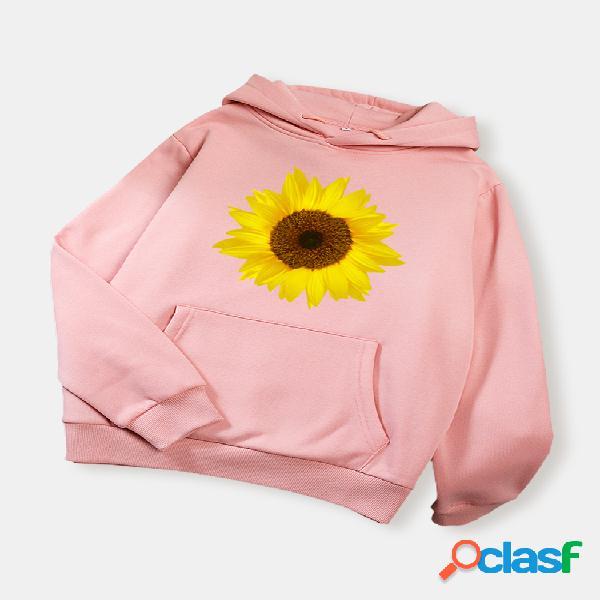Casaco com capuz de manga comprida estampado floral margarida com bolso