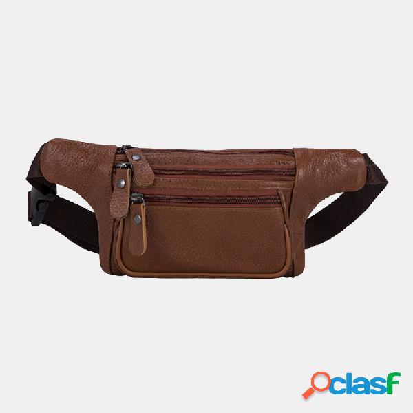 Masculino couro genuíno três camadas à prova d'água de grande capacidade multifuncional crossbody bolsa peito bolsa sling bolsa