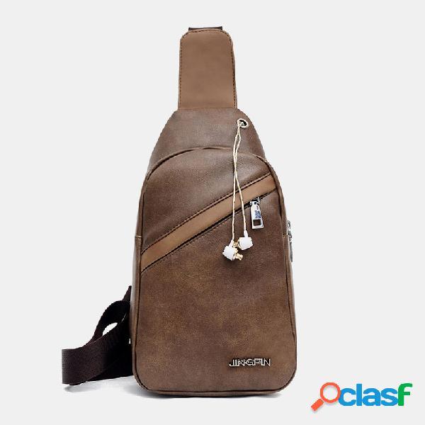 Orifício para fone de ouvido masculino de grande capacidade crossbody de bolso múltiplo bolsa tórax bolsa funda bolsa