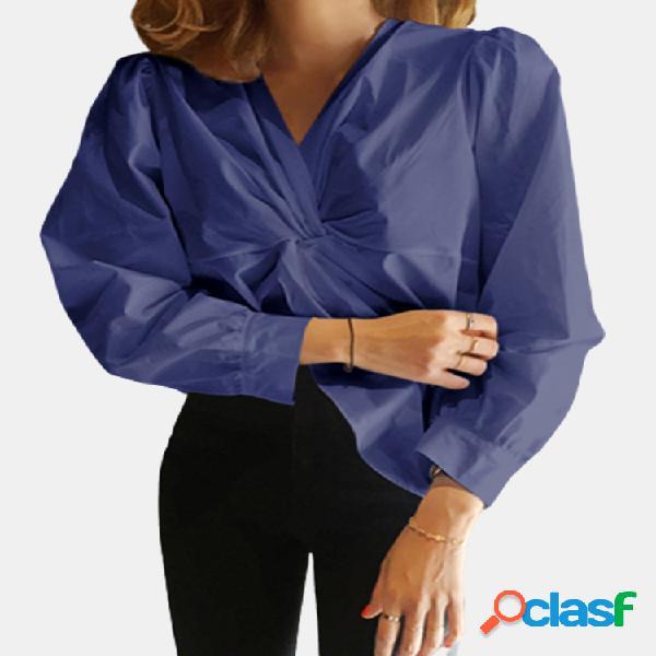 Blusa de manga comprida trançada com decote em v cor sólida